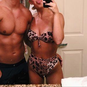 high waist cheetah/leopard print bikini
